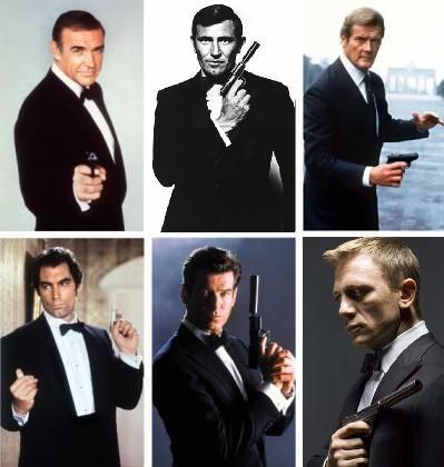 James Bond Connery Lazenby Moore Dalton Brosnan Craig
